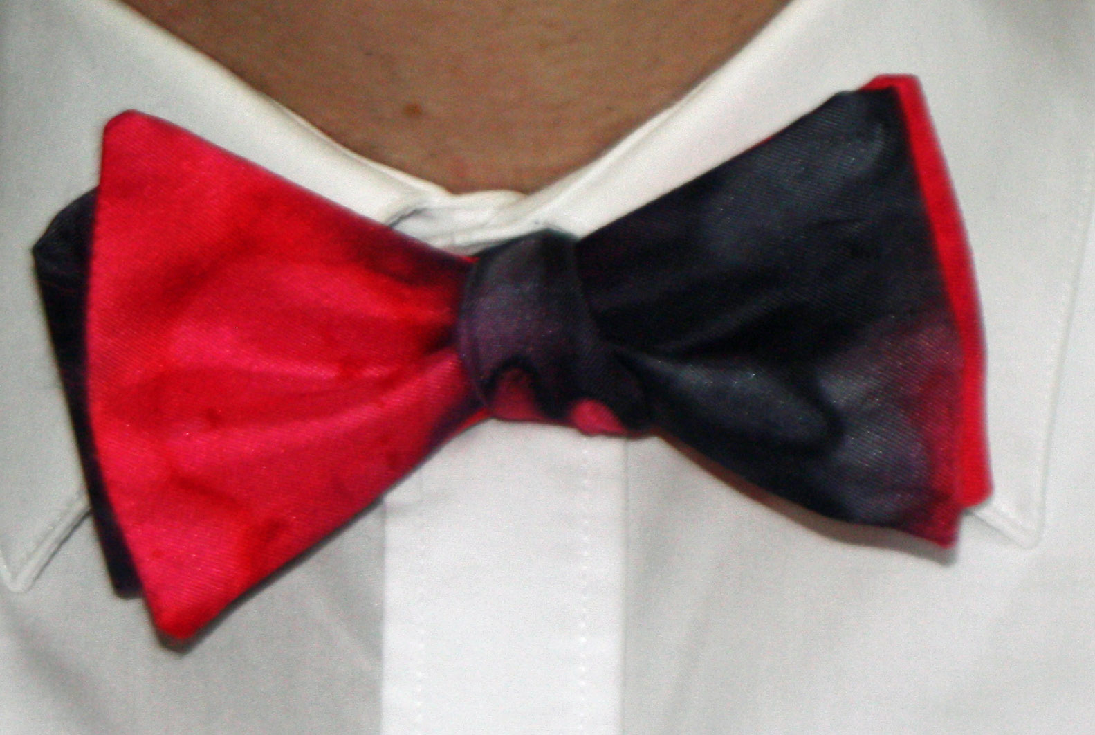 Red and Black Silk Bow Tie ( Self Tie )