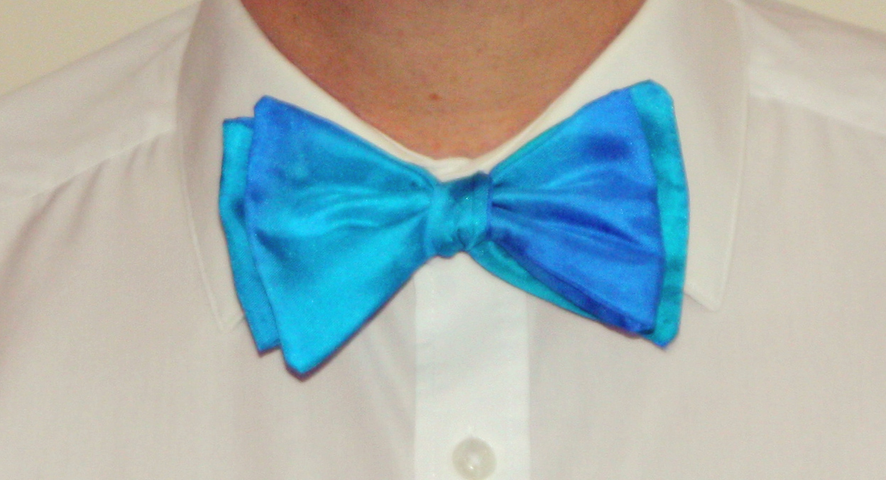 Aqua and Blue Silk Bow Tie ( Self Tie )