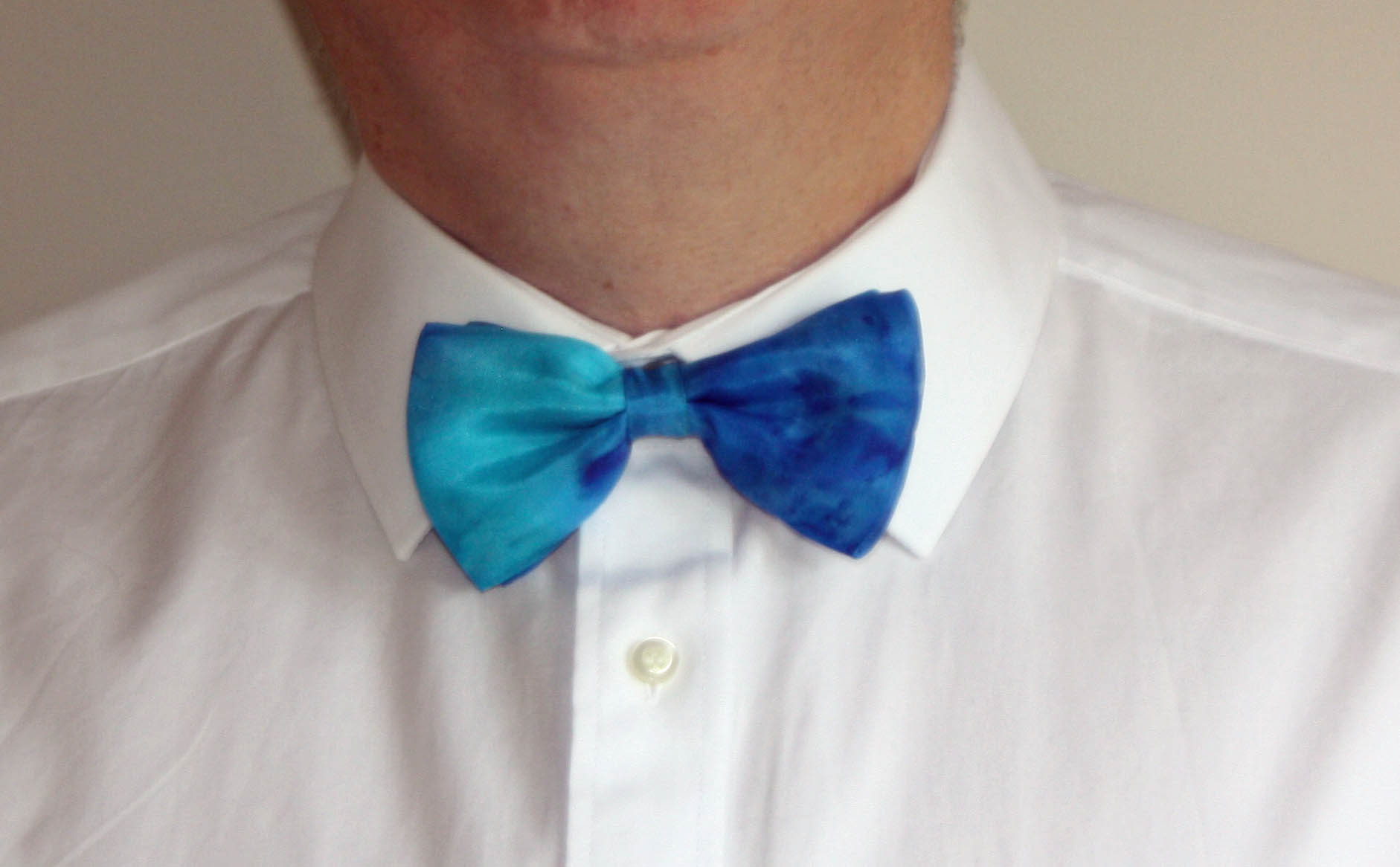 Blue and Turquoise Silk Bow Tie