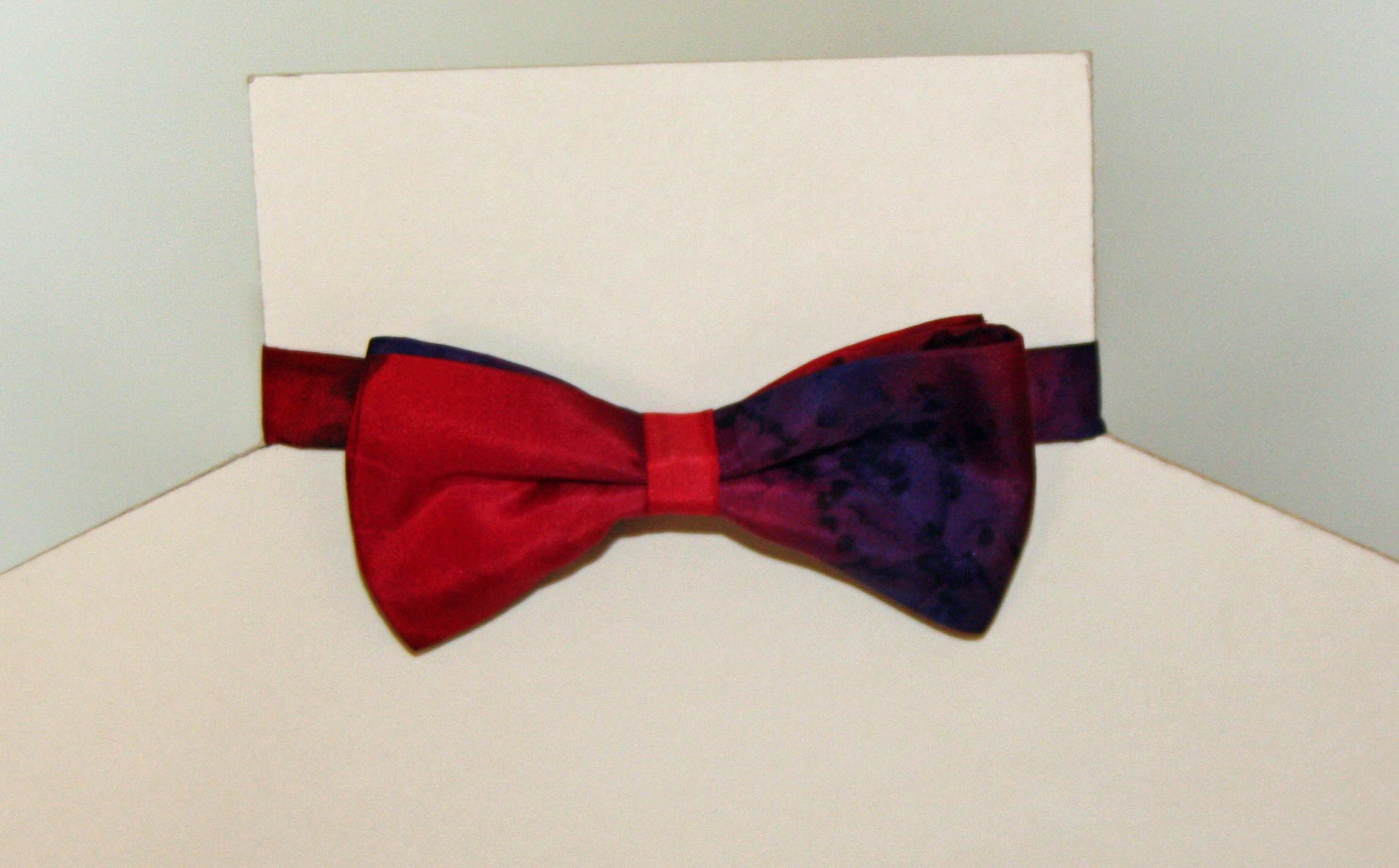 Red and Navy Blue Silk Bow Tie