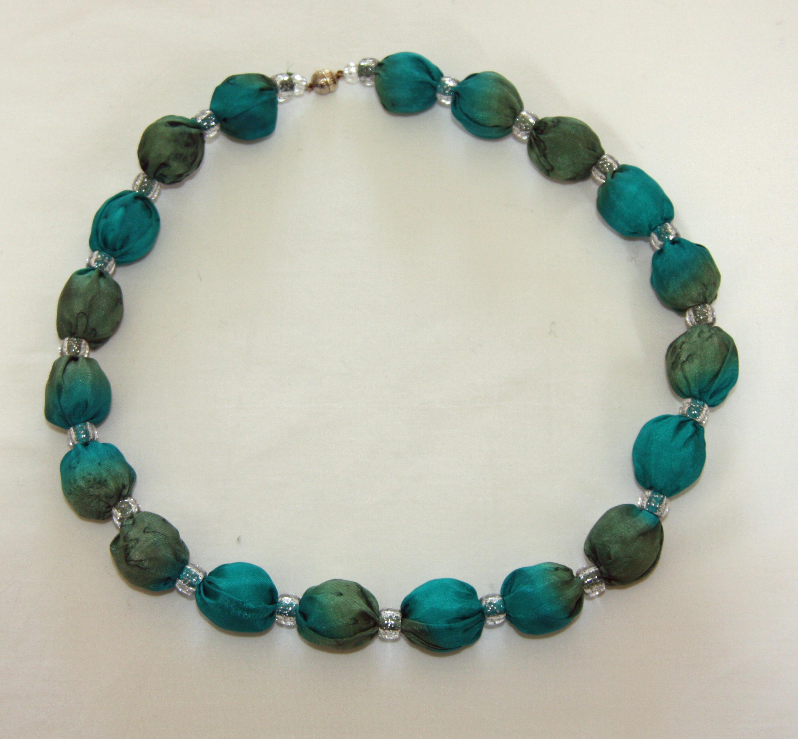 Emerald and Olive Green Silk Necklace
