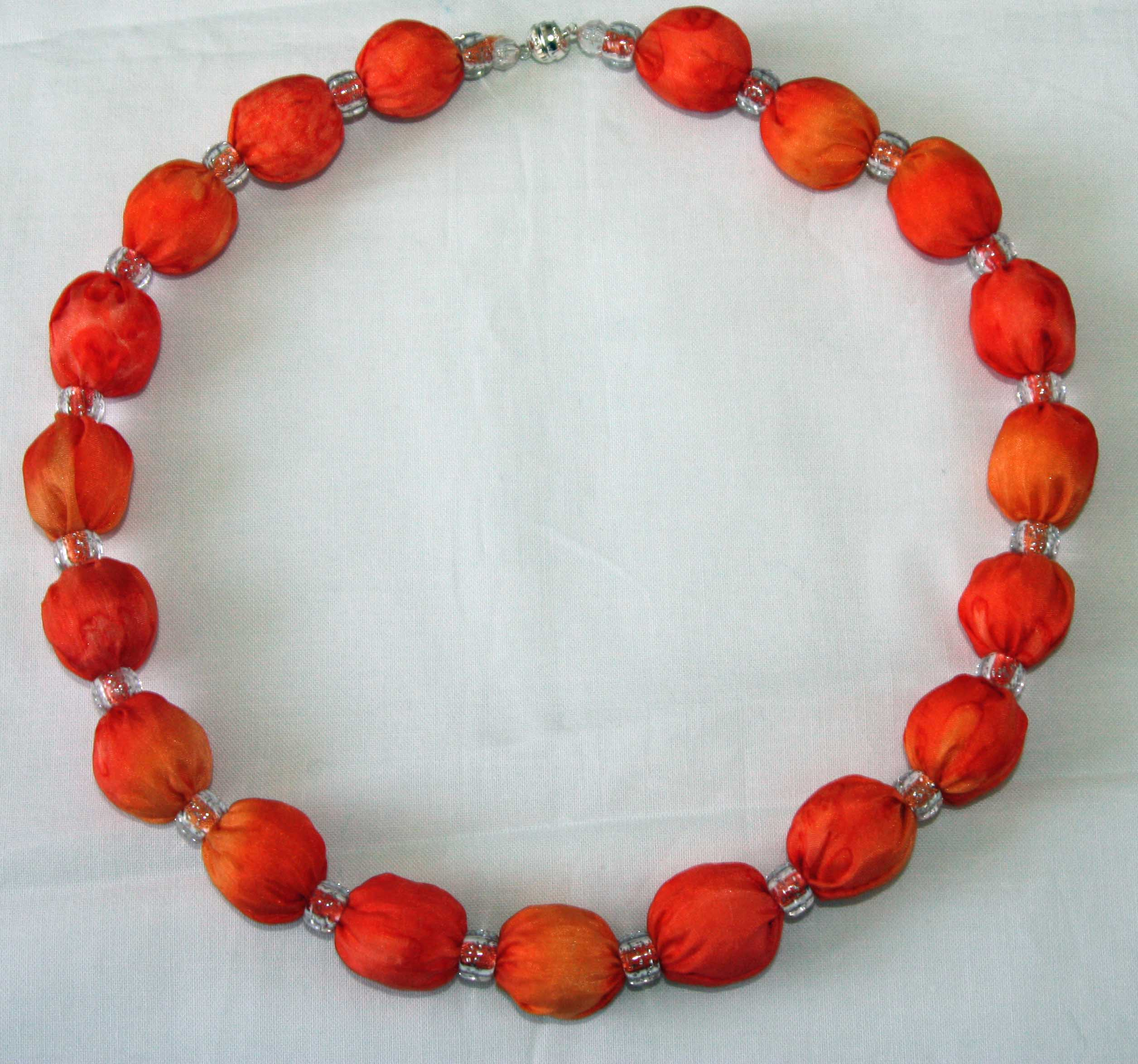 Orange and Coral Silk Necklace