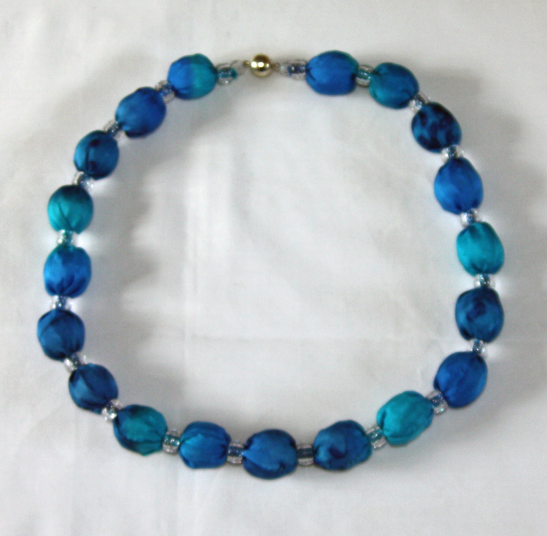 Navy,Royal Blue and Aqua Silk Necklace