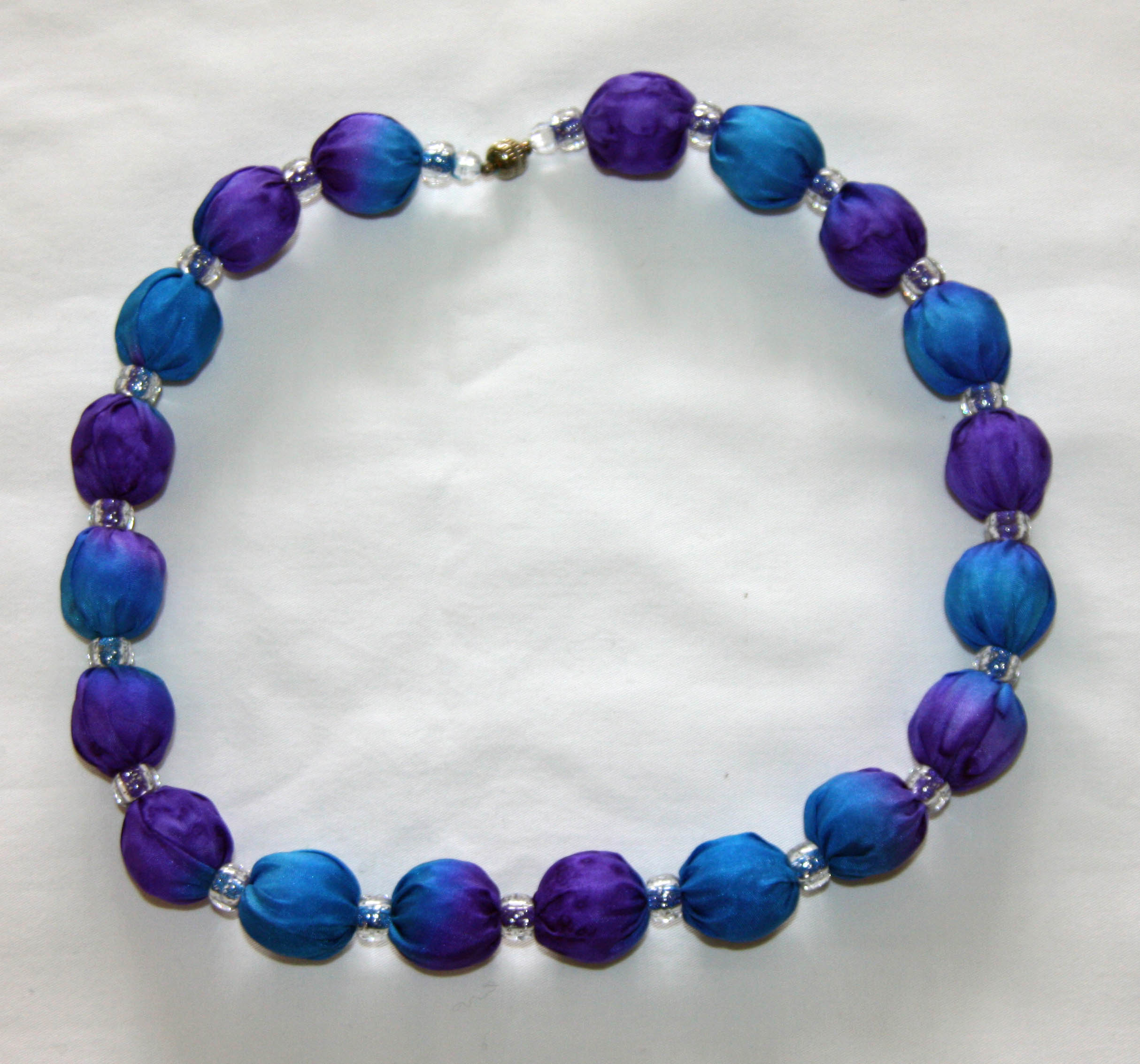 Purple and Blue Silk Necklace