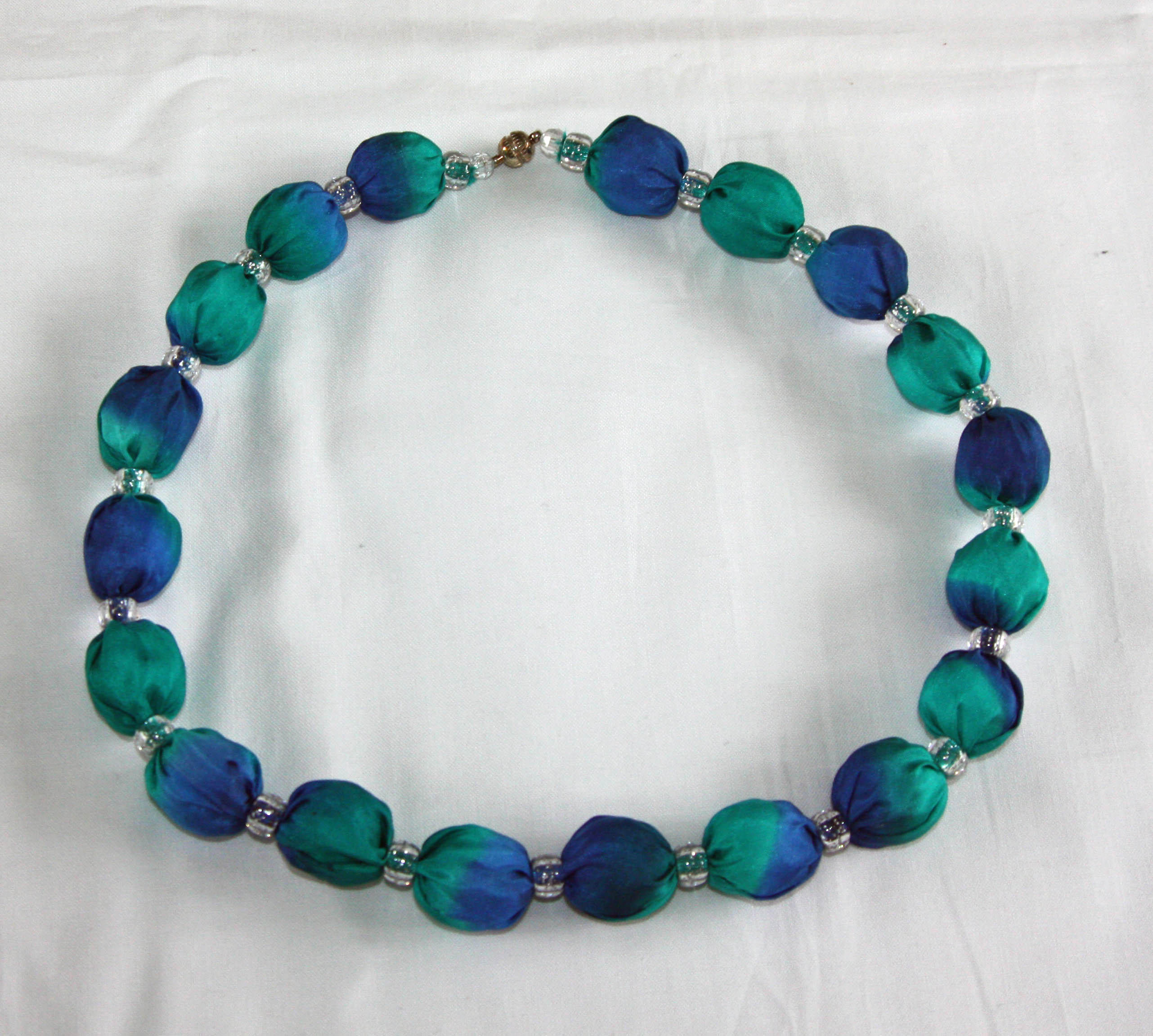 Emerald Green and Navy Blue Silk Necklace