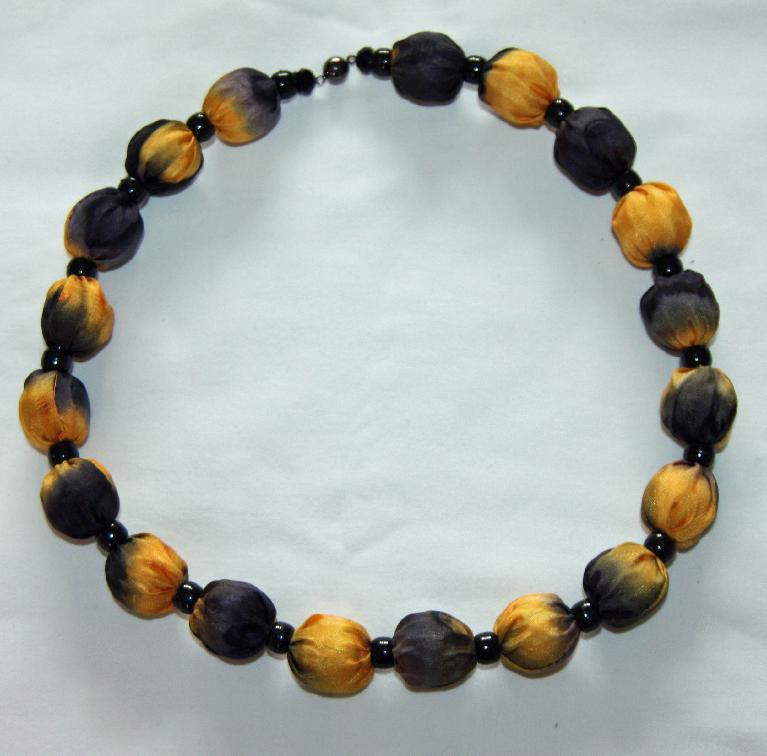 Black and Golden Yellow Silk Necklace