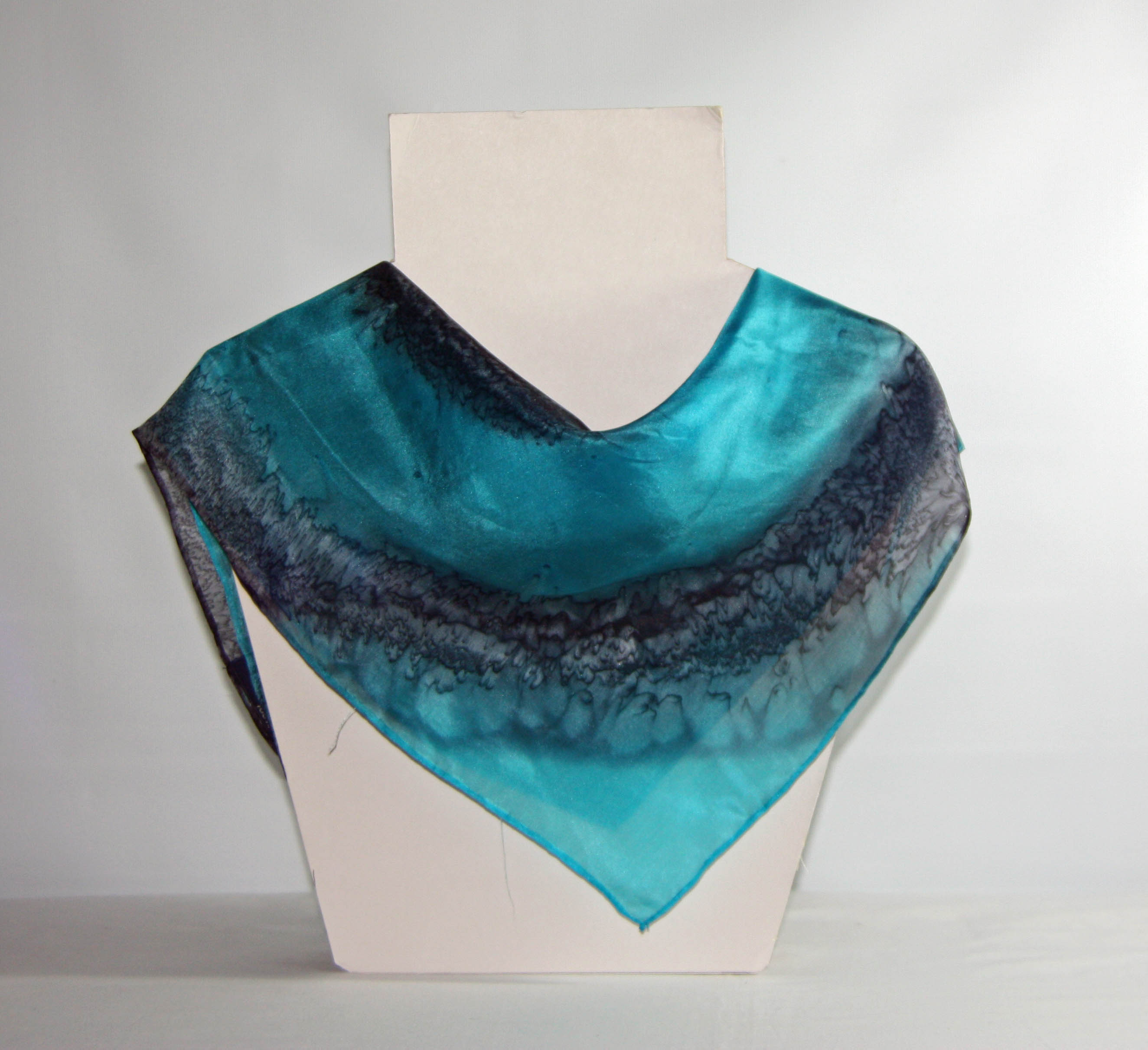Turquoise Blue and Black Square Silk Bandanna