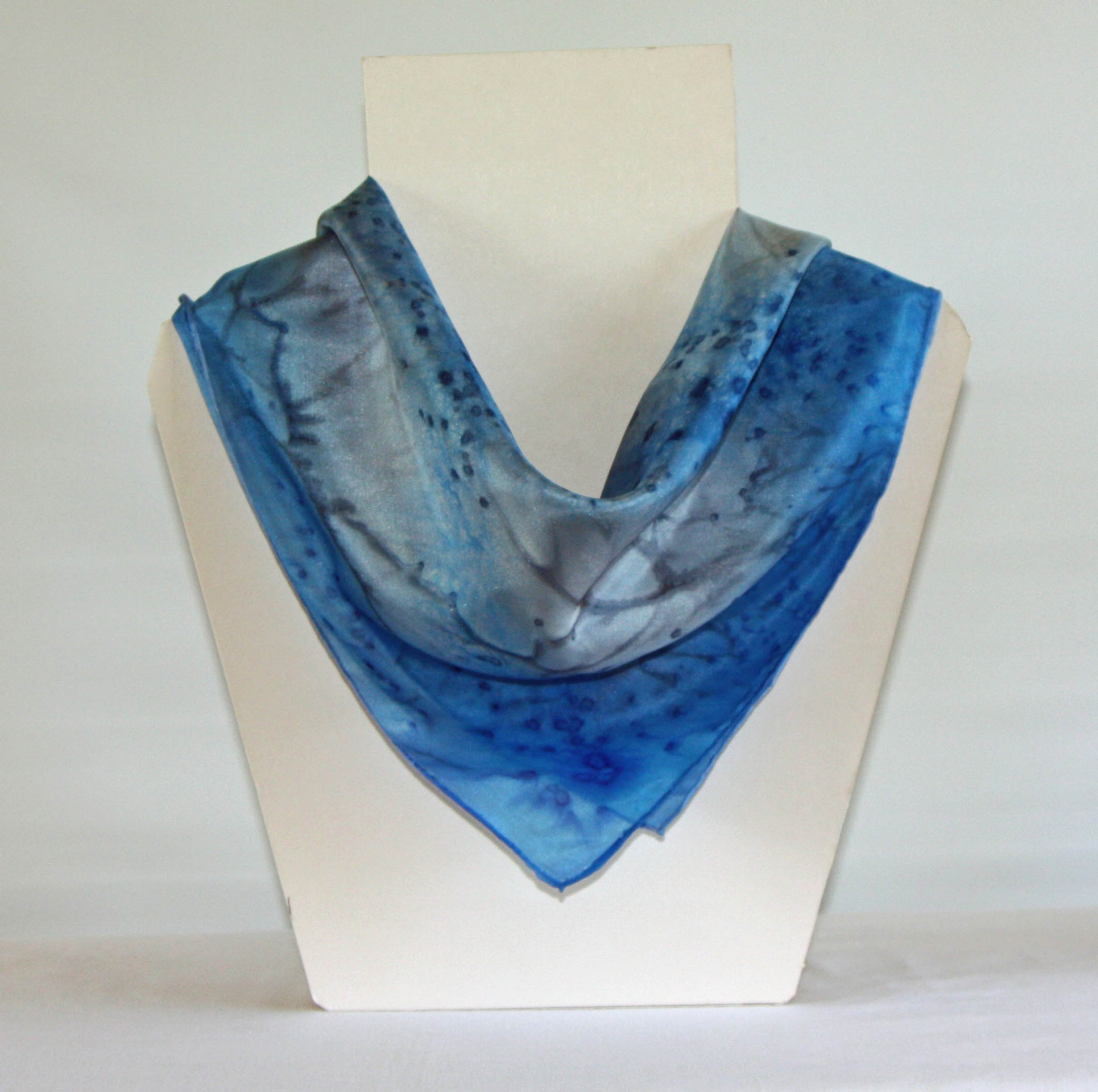 Grey and Sky Blue Silk Bandanna
