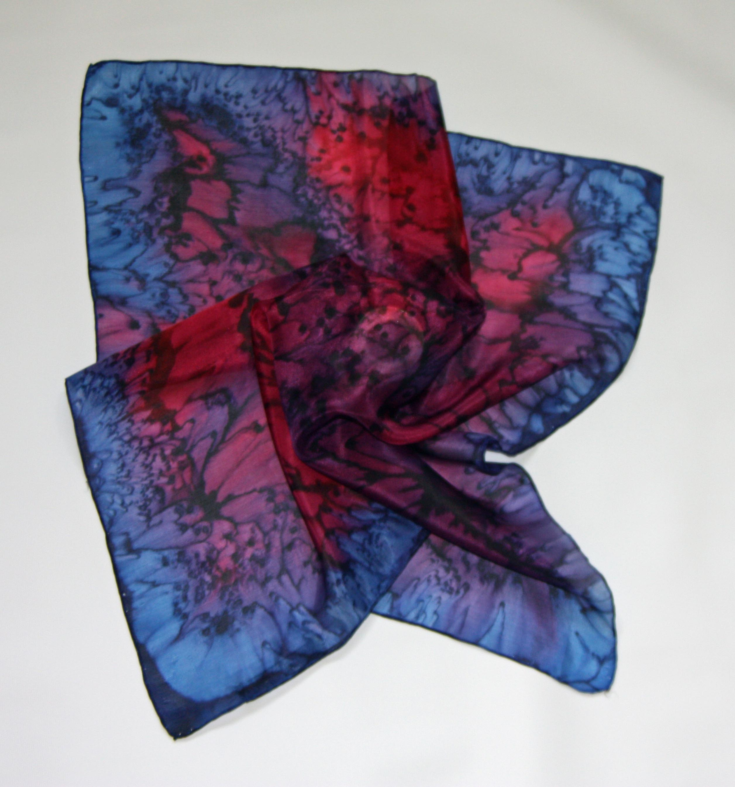 Red and Navy Square Silk Bandanna