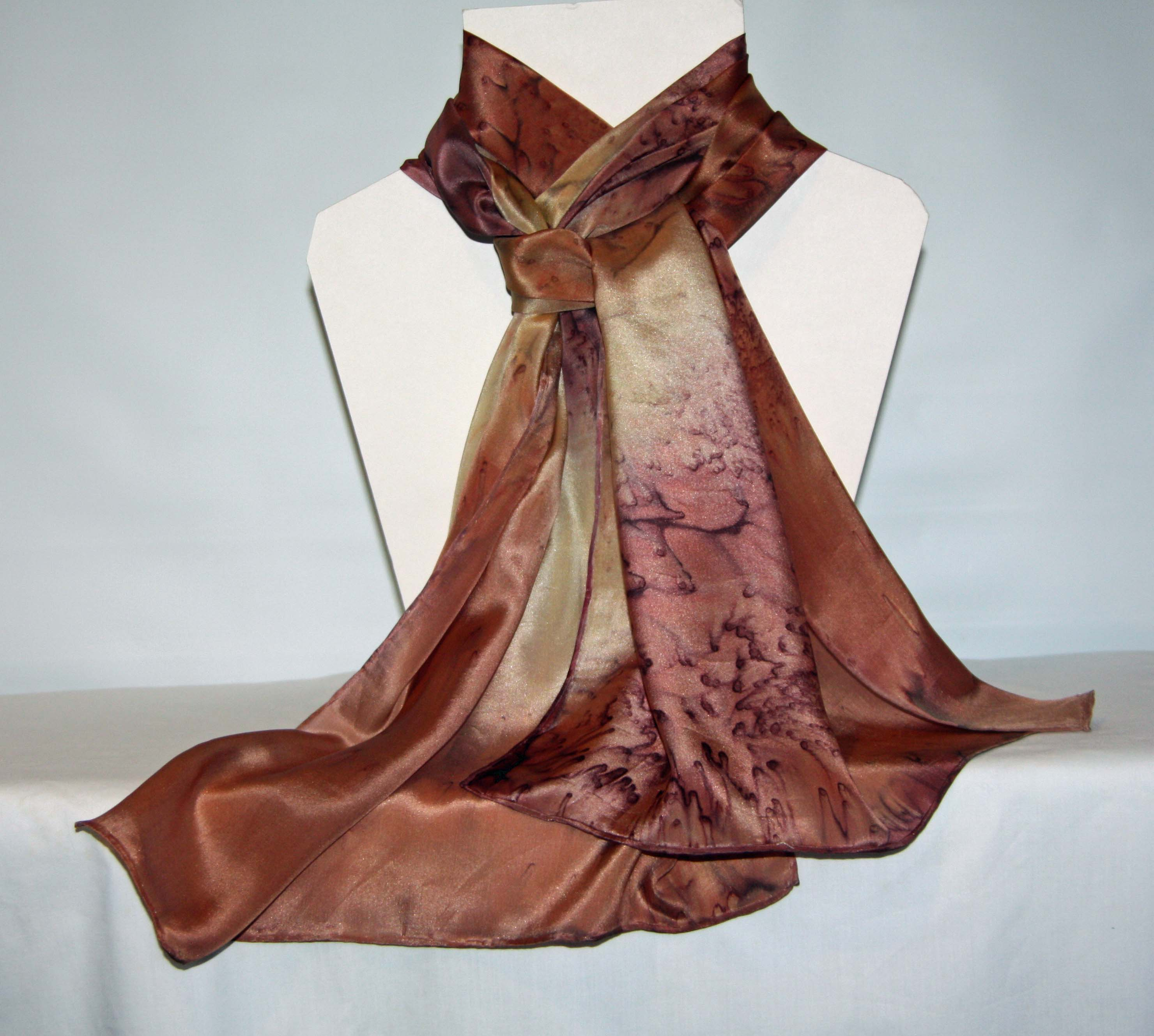 Chocolate Brown, Caramel and Beige Long Silk Scarf Large