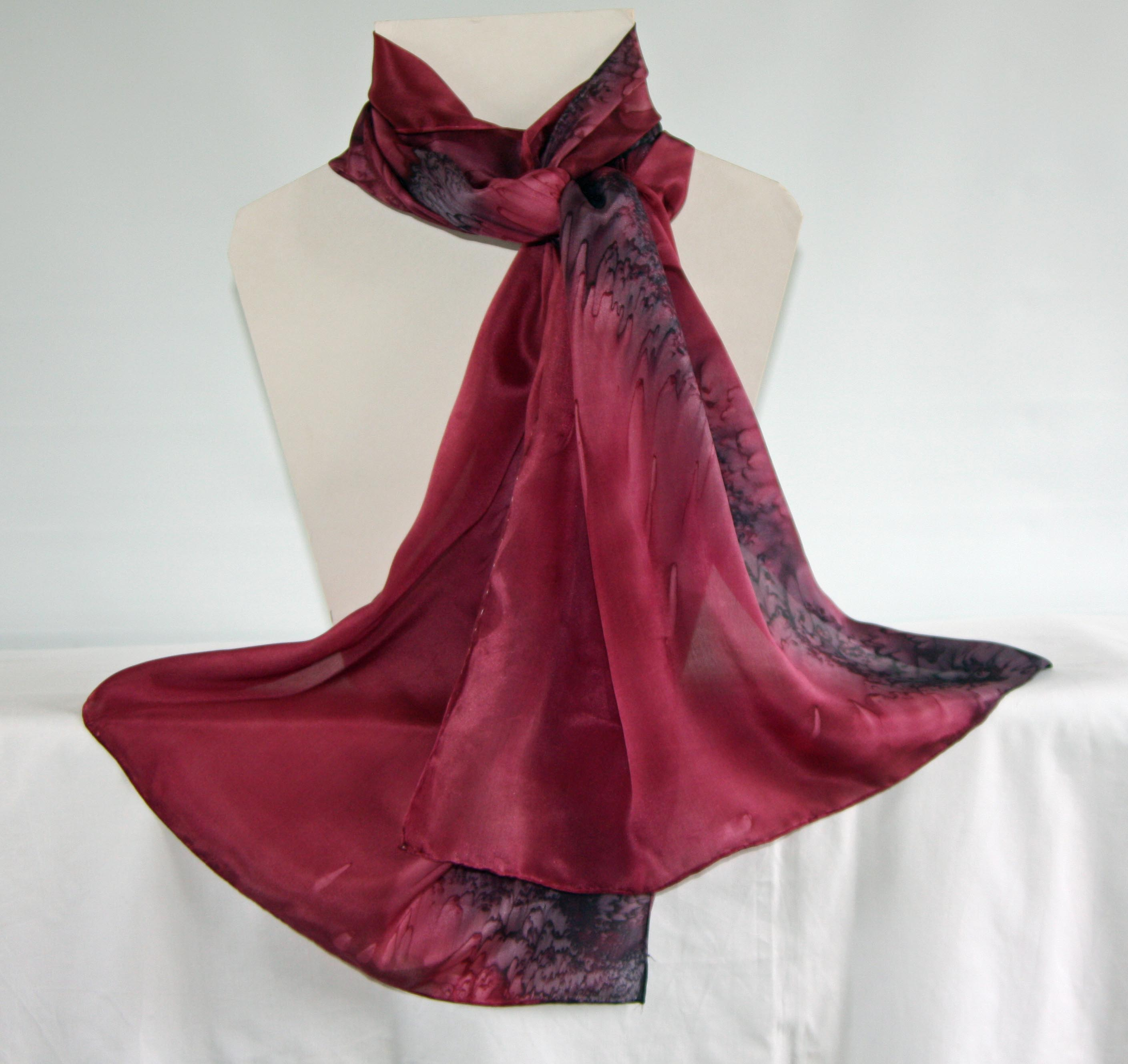 Burgundy Red and Black Long Silk Scarf - Large
