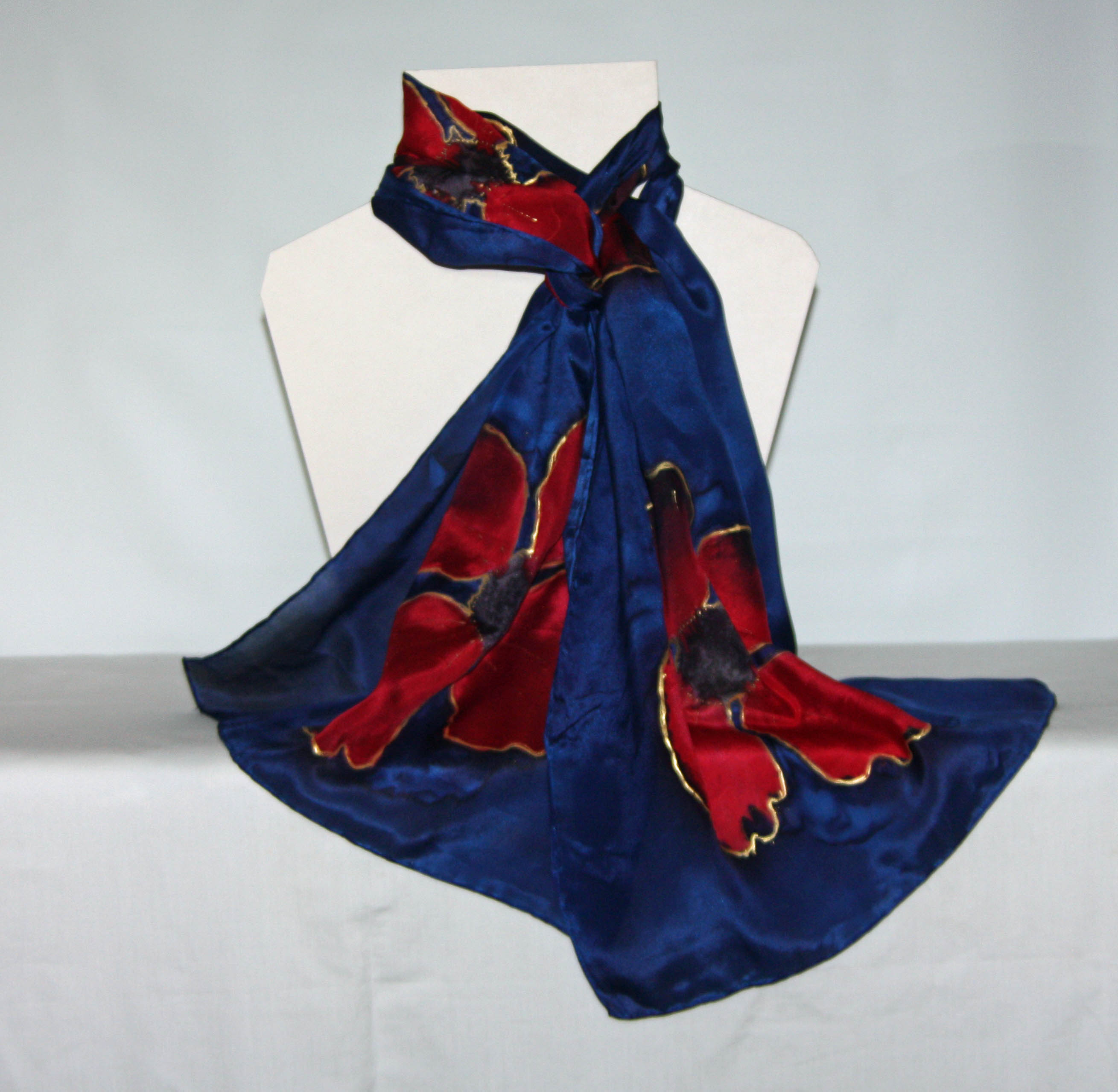 Poppies on Navy Long Silk Scarf - Large