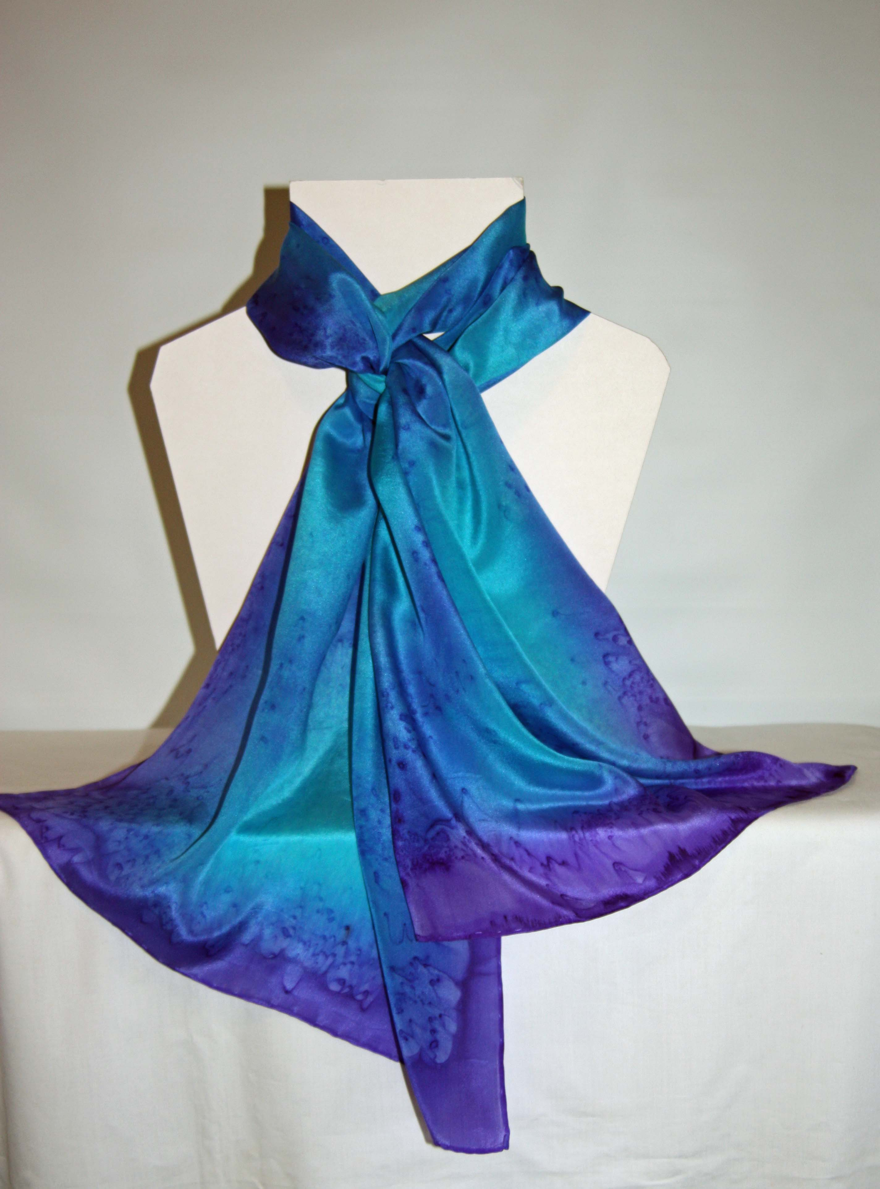 Turquoise Blue and Purple Long Silk Scarf Large
