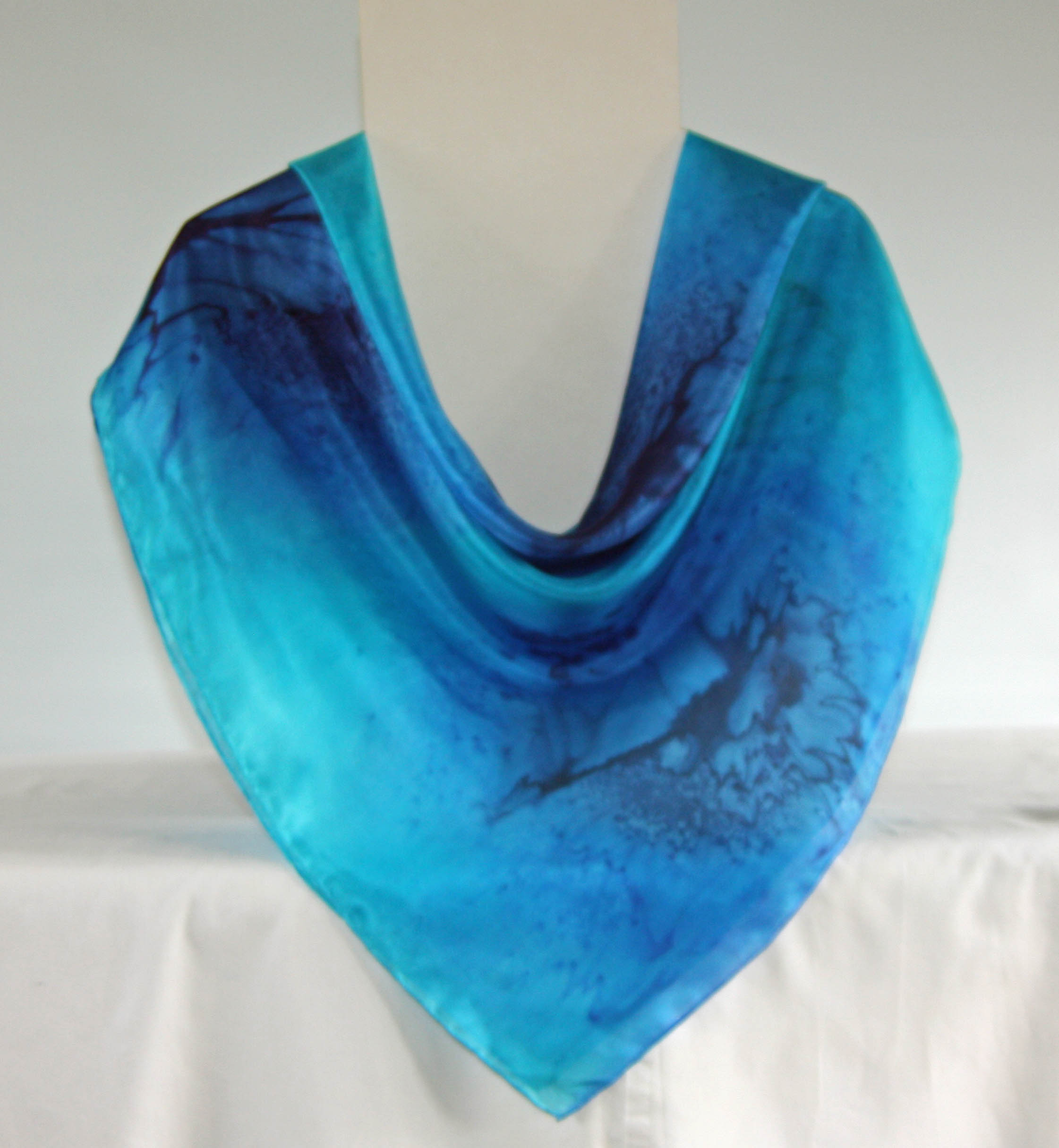 Large Turquoise, Royal Blue and Navy Square Silk Scarf
