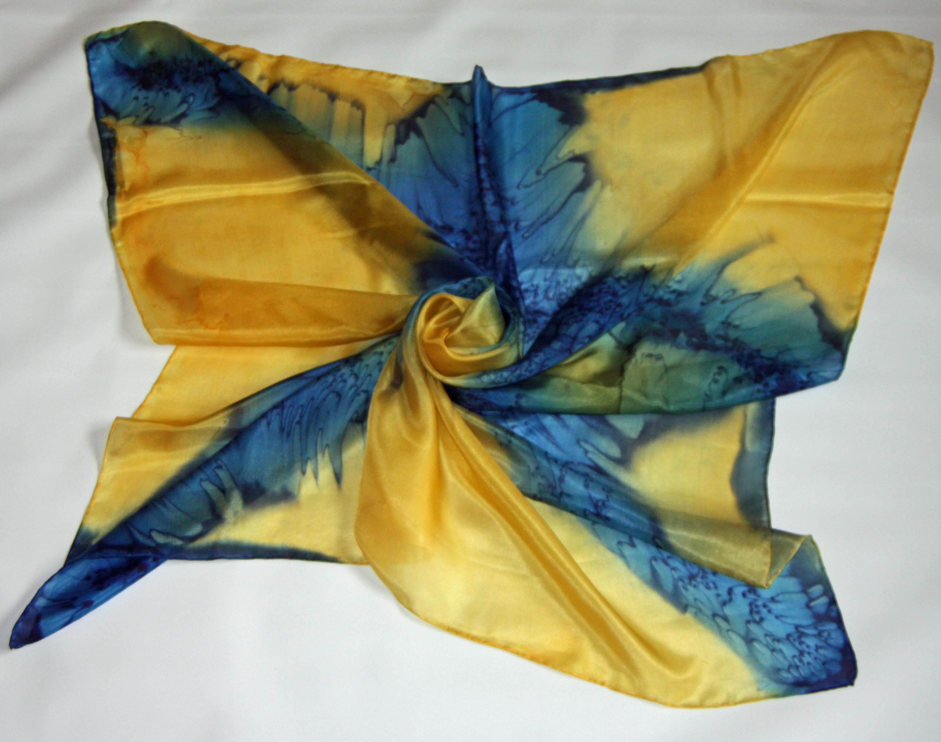 Large Golden Yellow and Navy Blue Square Silk Scarf