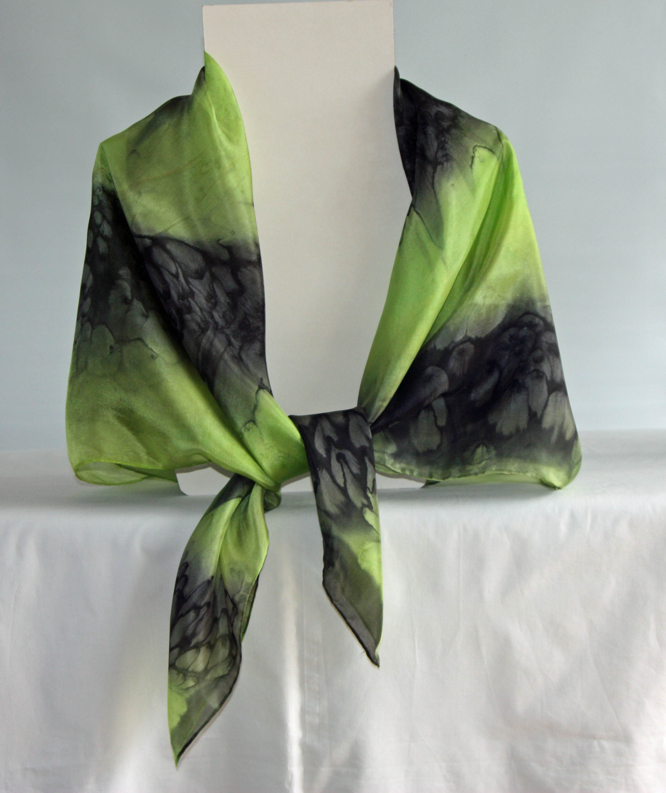 Large Lime Green and Black Square Silk Scarf