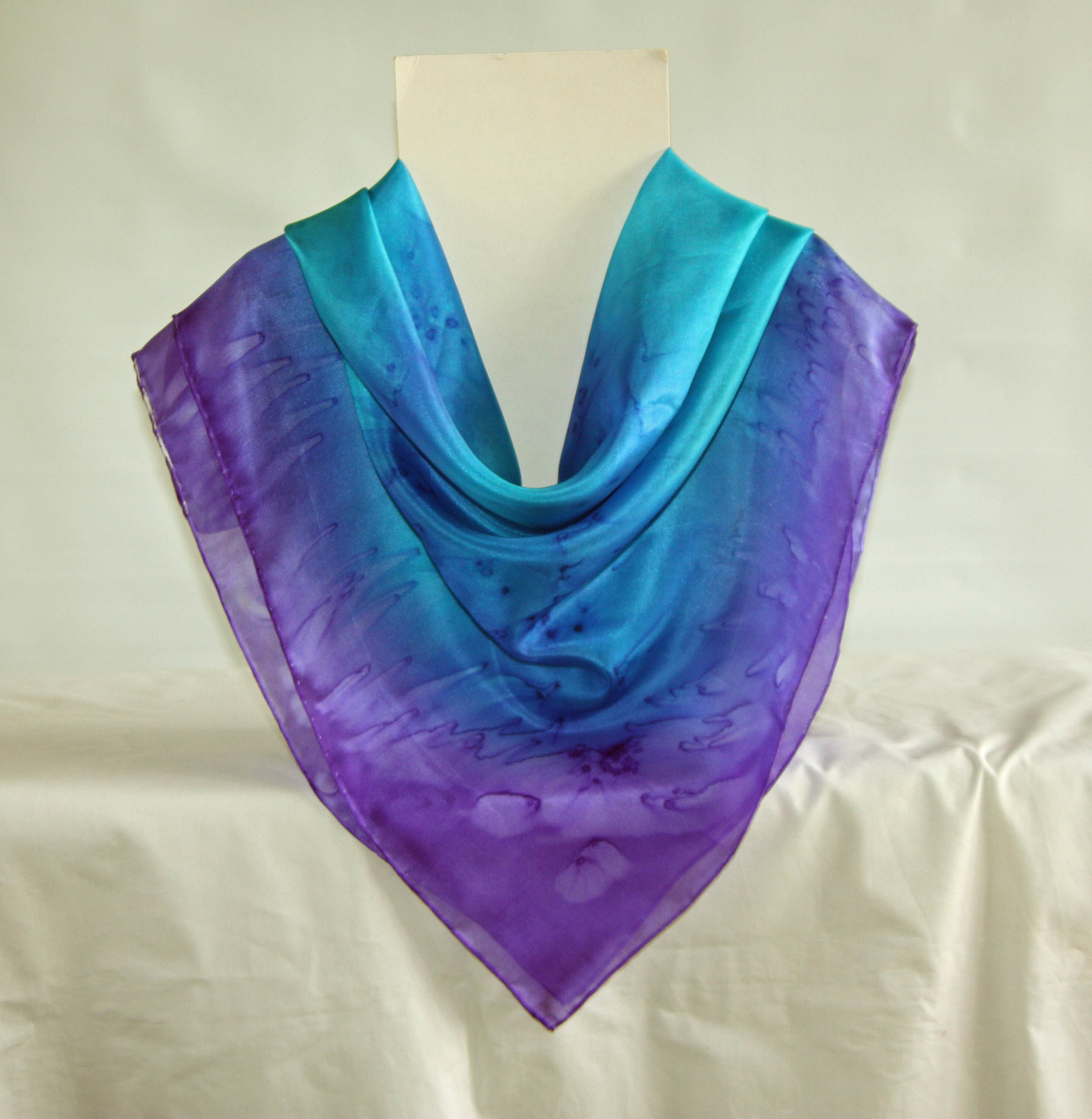 Large Turquoise Blue and Purple Silk Square Scarf