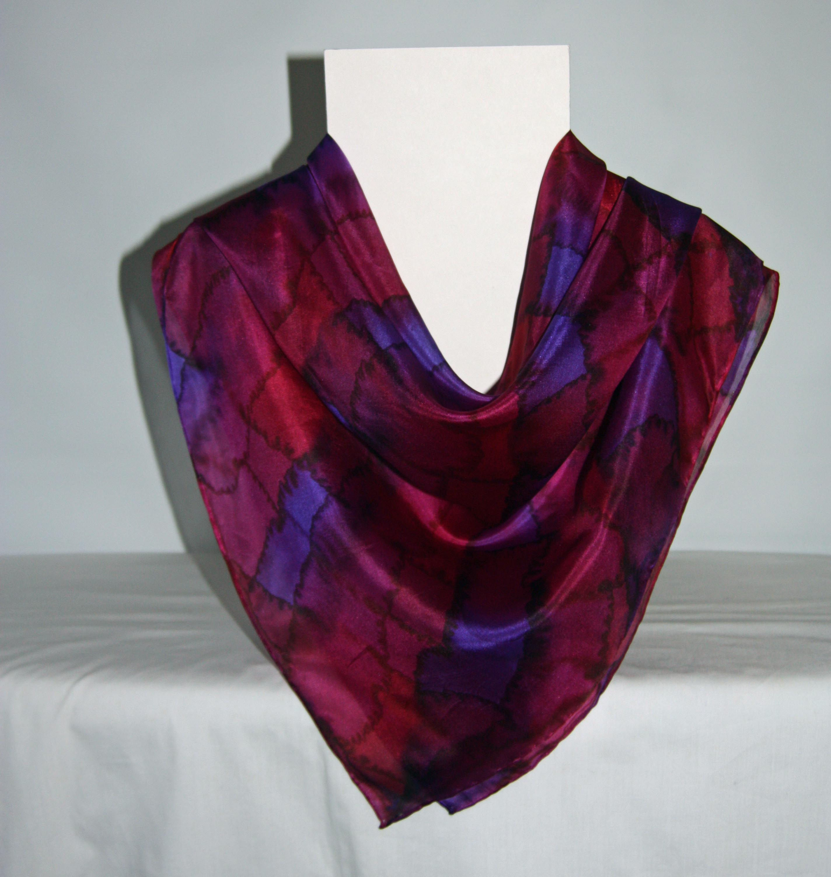 Large Red, Purple and Dark Pink Tartan Square Silk Scarf