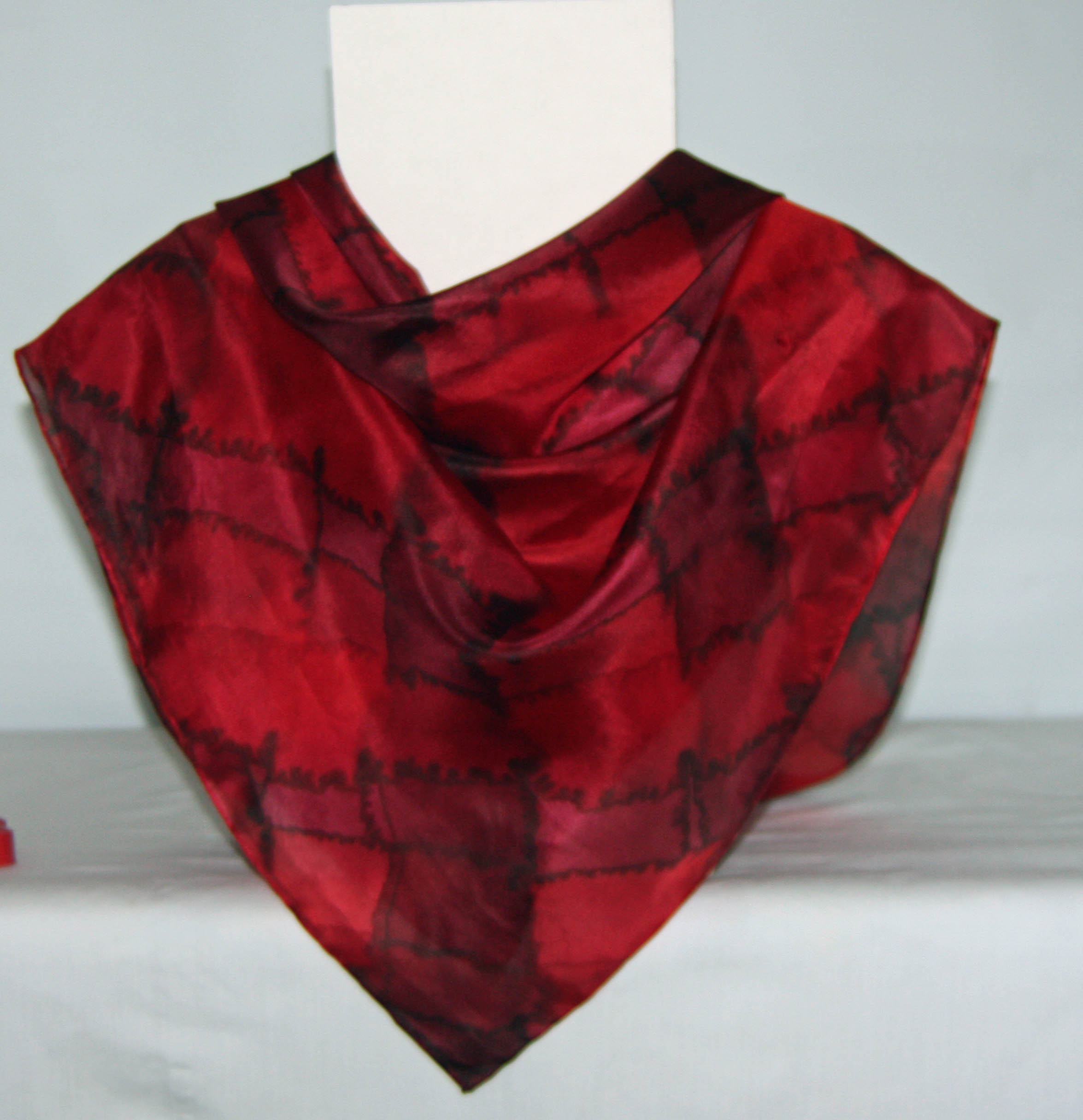 Large Red Tartan Square Silk Scarf