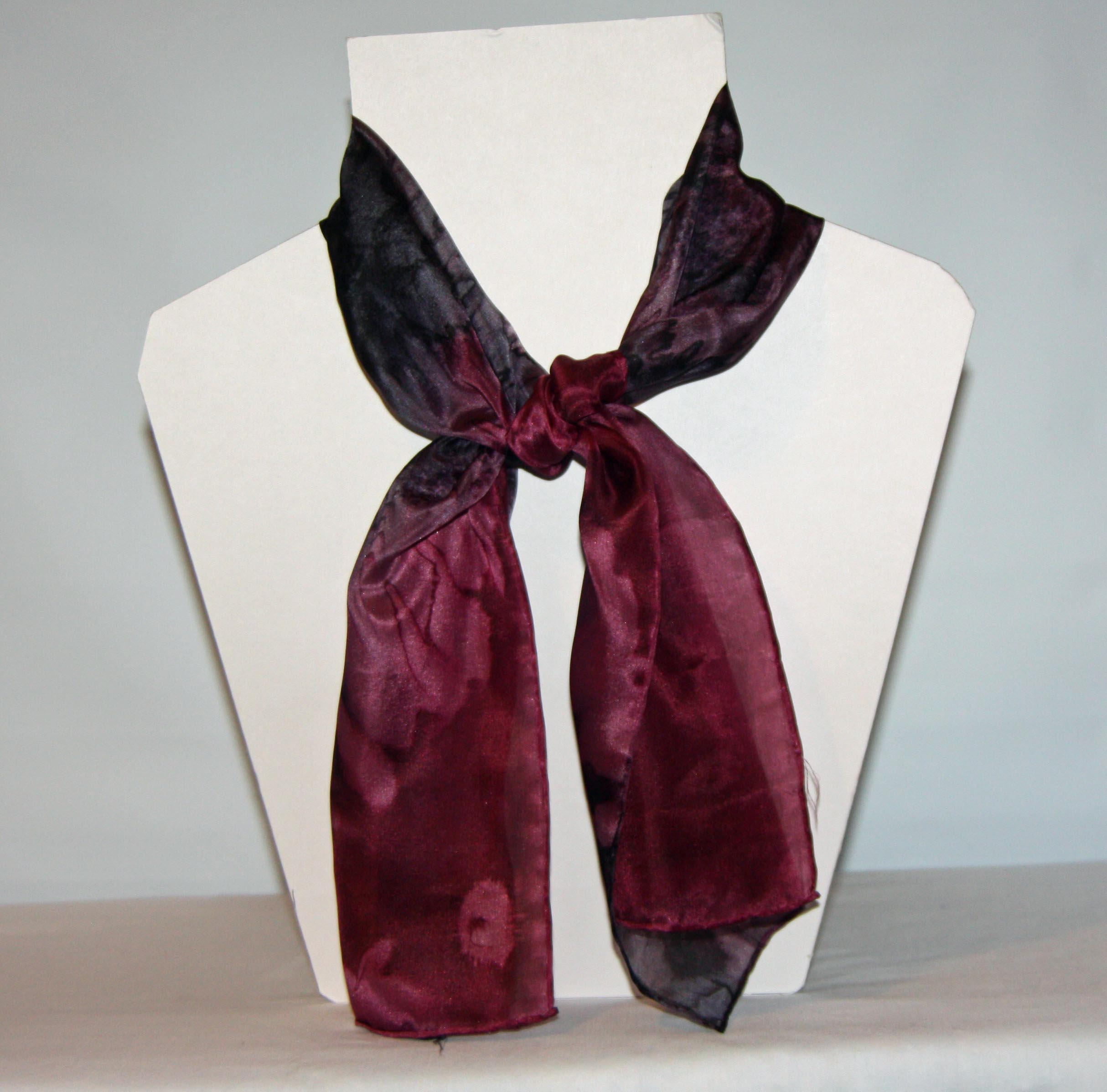 Black and Burgundy Long Silk Scarf Small