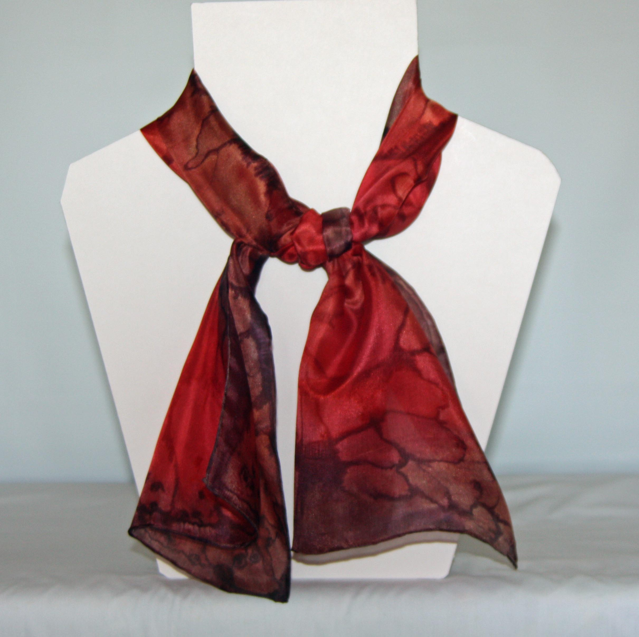 Coral and Brown Long Silk Scarf Small