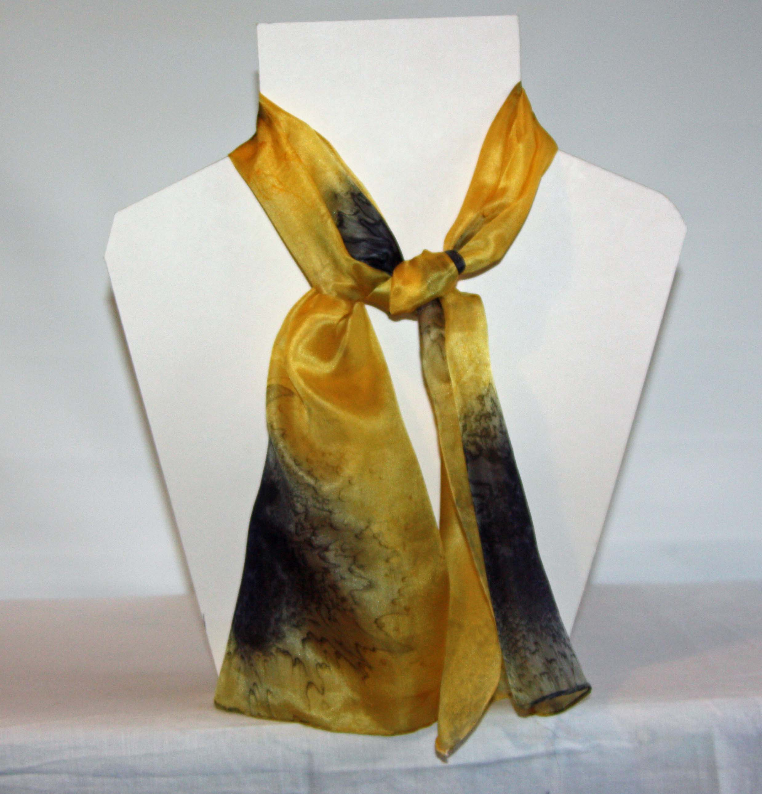 Black and Golden Yellow Long Silk Scarf Small
