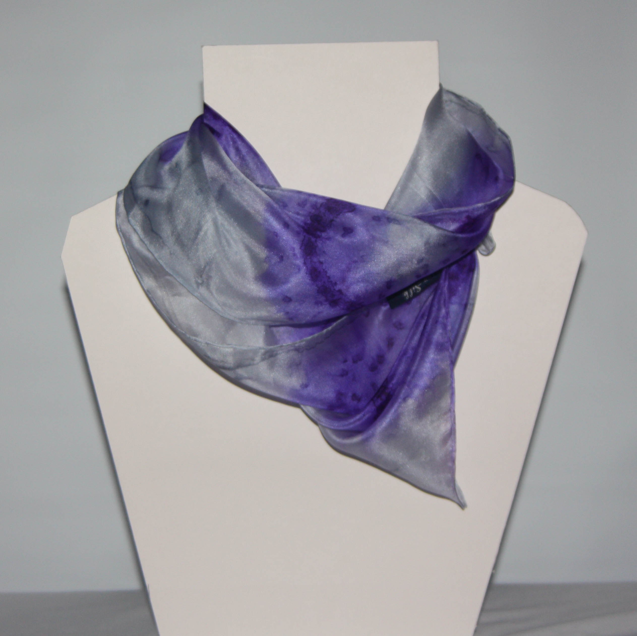 Grey and Purple Long Silk Scarf Small