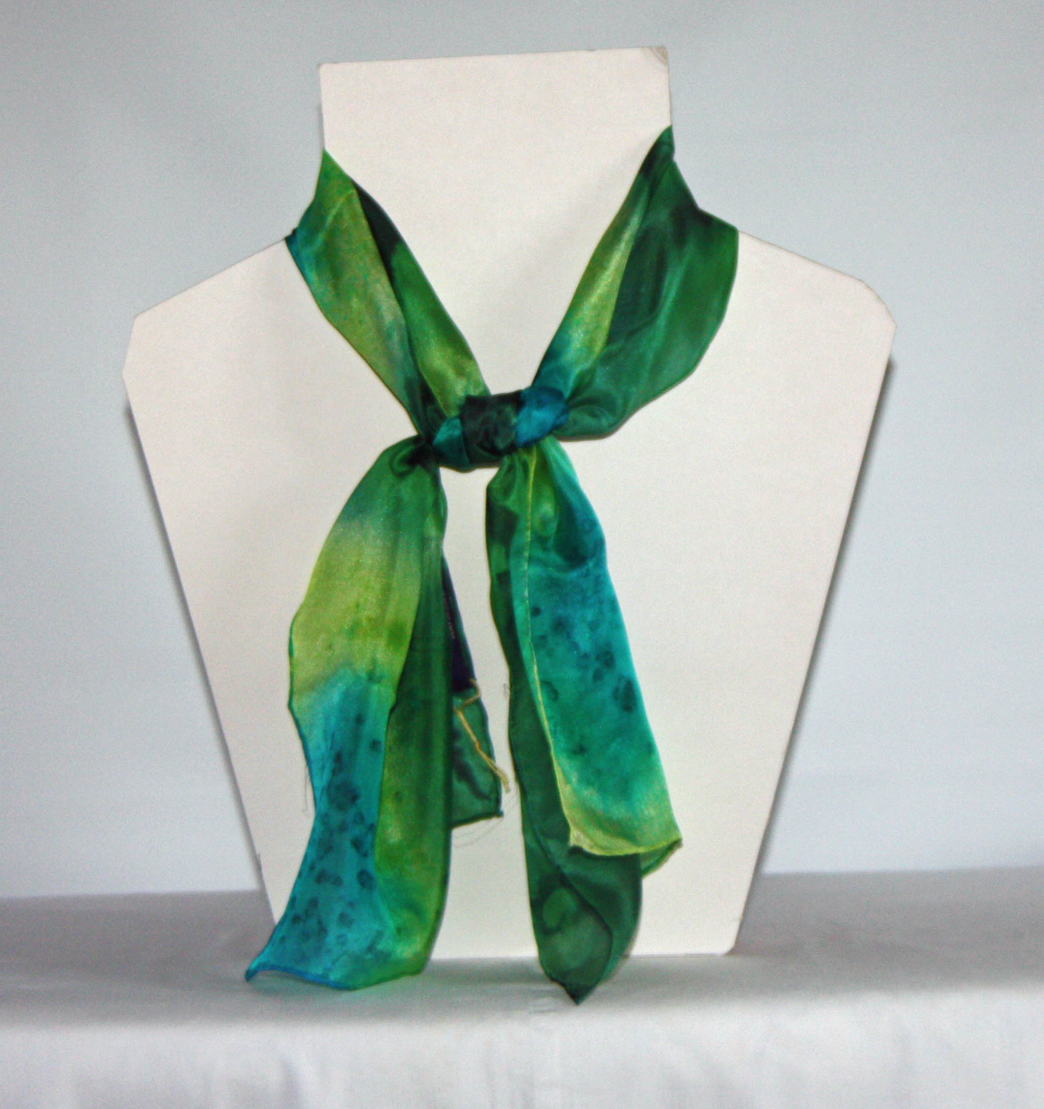Peacock Blue, Lime and Dark Green Long Silk Scarf Small