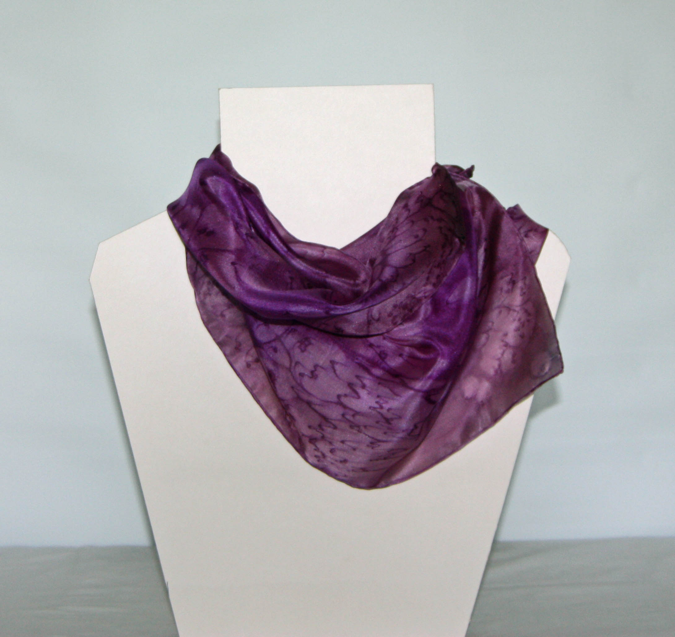 Purple and Pink Heather Long Silk Scarf Small