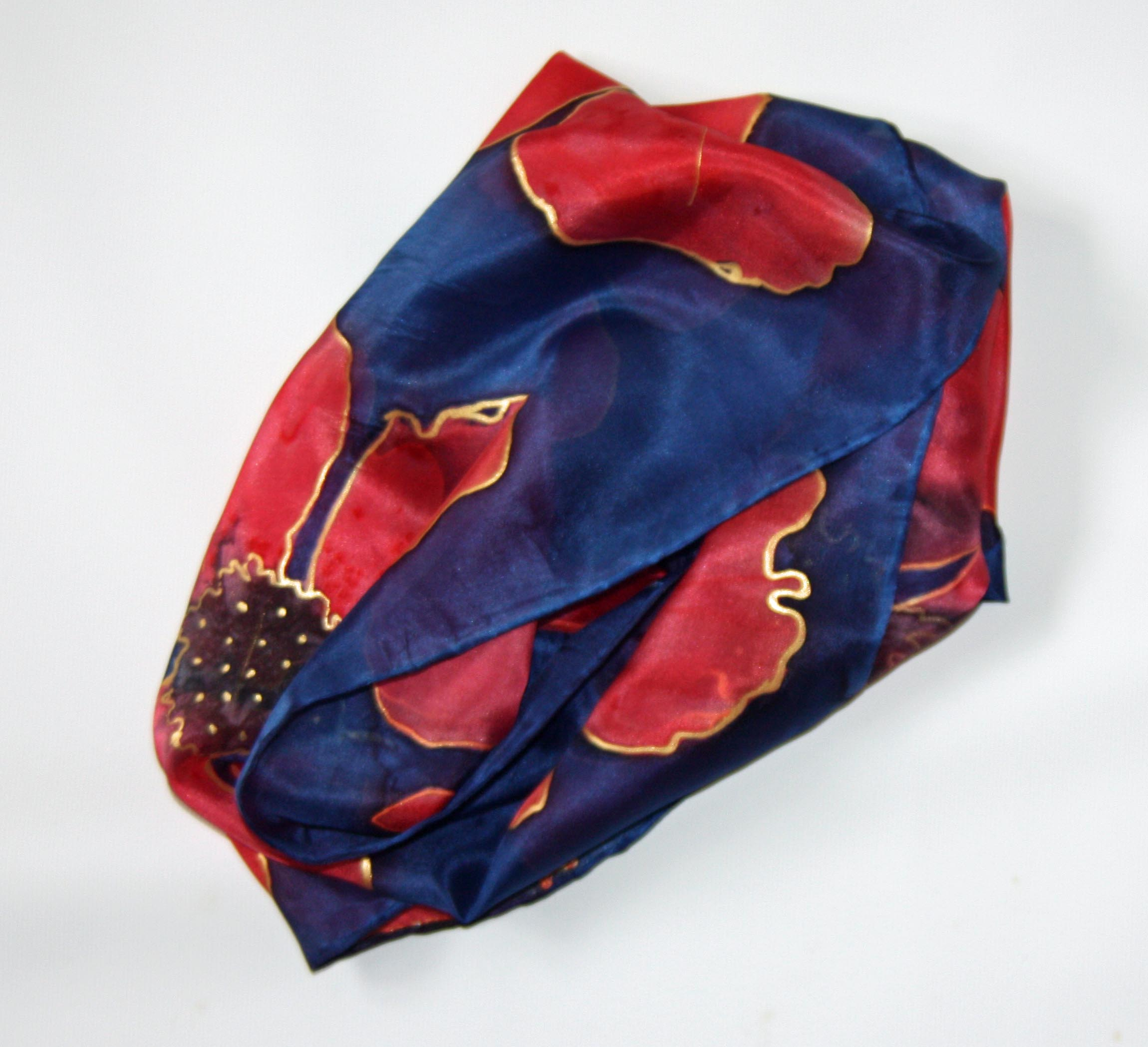 Poppies on Navy Long Silk Scarf Small