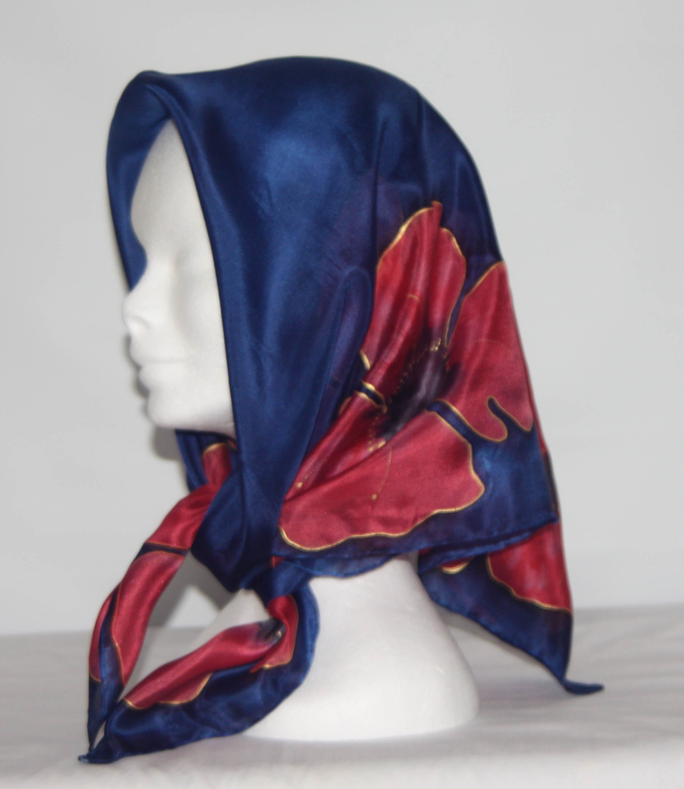 Poppies on Navy Blue Square Silk Headscarf