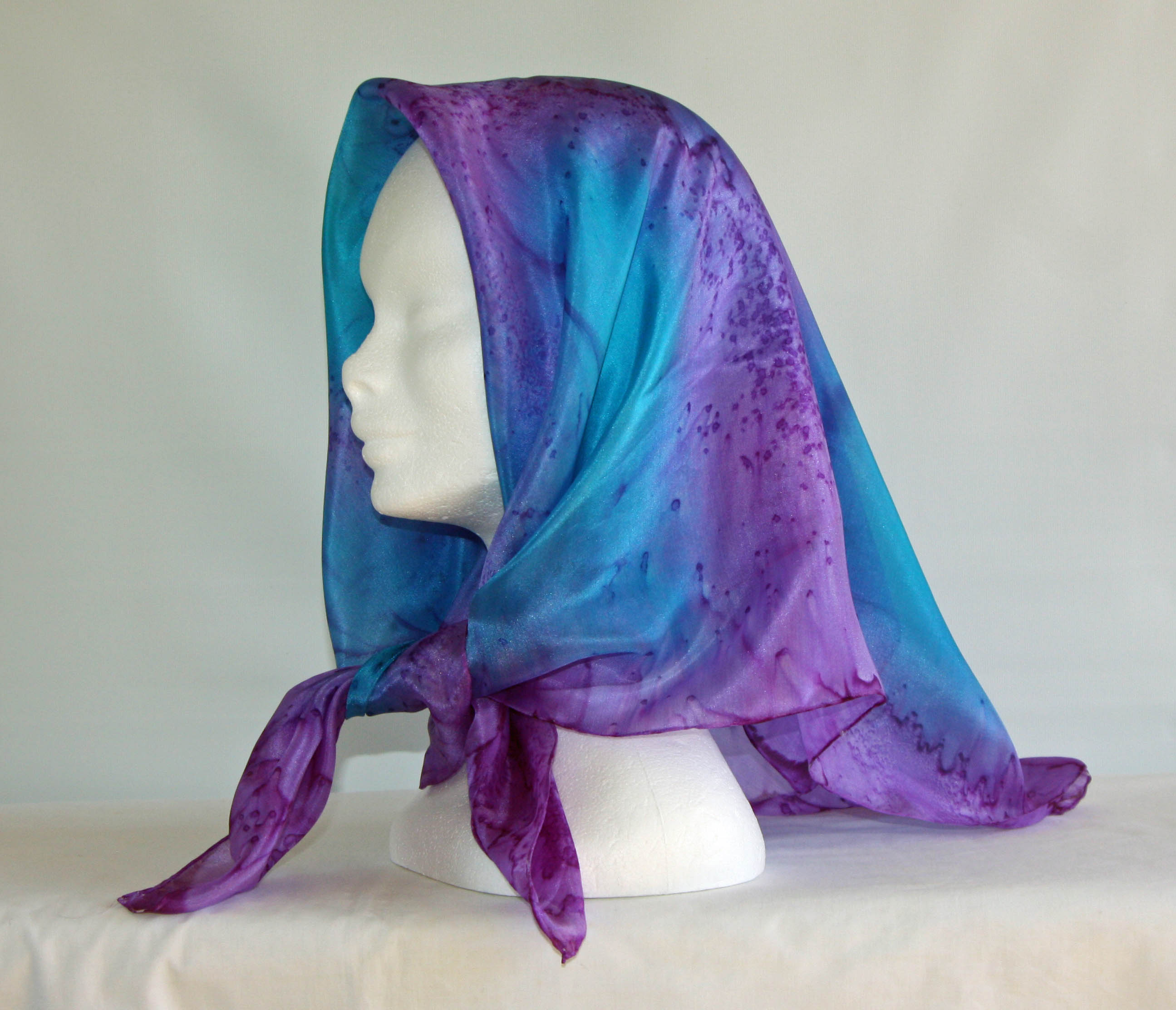 Purple and Turquoise Square Silk Headscarf