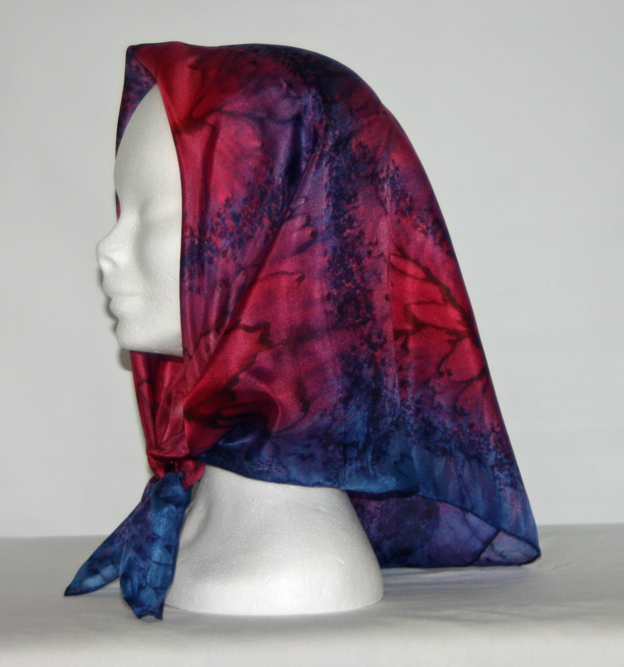 Red and Navy Square Silk Headscarf